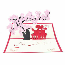 3D Pop Up Greeting Card Cherry Blossom Wedding Anniversary Invitation Cards DIY