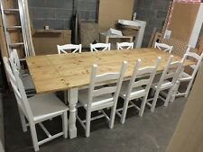 REFECTORY PAINTED RECLAIMED ROUGH SAWN TABLE 7'-9' BESPOKE SIZES & COLOURS WHITE