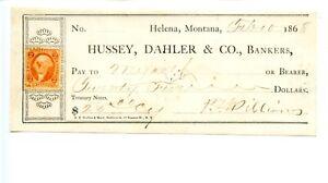 1868.  Helena,Montana Territory.   Hussey, Dahler & Co Bankers Pay in Treasury