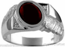 Mens Cabachon Garnet & Diamond Ring Sterling Silver