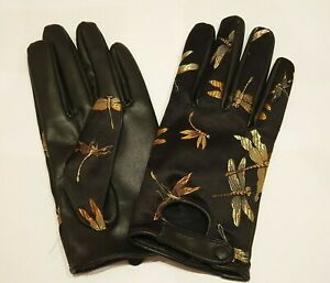 Beautiful Black Faux Leather/Satin Gloves Gold Embroidered Dragonflies Dragonfly
