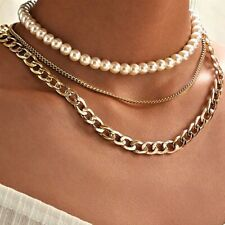 Women Thick Big Chain  Multi layer Pearl Gold Necklaces Chunky Choker Fashion