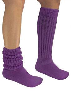 Purple Slouch Socks Knee Scrunchie Heavy Workout Hooters Uniform Warm Sexy Long