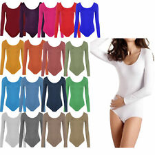 Womens Ladies Scoop Neck Long Sleeve Bodysuit Leotard Plain Stretch Basic Top