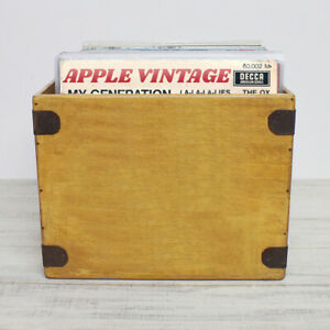 """Handcrafted LP Record Box Large 80 12"""" Albums Vintage Solid Wooden Vinyl Crate"""