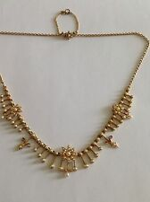 Superb Antique Victorian 15ct Gold Natural Seed Pearl Set Fringe Necklace