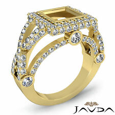 Diamond Engagement Ring Princess Semi Mount 18k Yellow Gold Halo Setting 1.4Ct