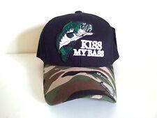 KISS MY BASS Fishing Adjustable Baseball  (Black/Camouflage) Hat Cap