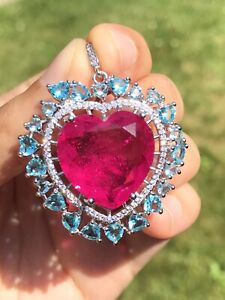 3.500$ VALUE BREATHTAKING 25+ CT NATURAL MOZAMBIQUE PINK RUBY PENDANT NECKLACE