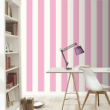 New Rasch Pink and White Wide Stripe Wallpaper 286908