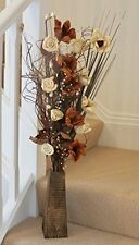 80 Cm Tall Natural & Cream Dried Display in Shaped Wood Vase Gift Weddings