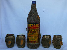 Vintage CINZANO Rosso Bottle and 5 Cups Wood Looking Set REAR  #1329