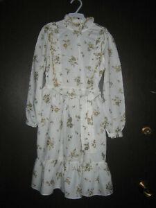 KDR18 GIRLS VINTAGE LONG SLEEVE DRESS WHITE GOLD SIZE 10