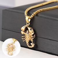 AM_ Men Women Golden Chain Scorpions Hip-hop Pendant Necklace Party Jewelry Util