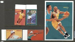 ANGOLA 1996, SPORT: SUMMER OLYMPICS - ATLANTA, Scott 982-986, MNH