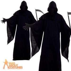 Adult Horror Robe Costume Mr Grim Reaper Mens Fancy Dress Halloween Outfit
