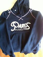 Womens Paris Hoodie size L Raised Lettering and sequense