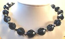 Vintage 70's Glass Crystal Cloisonne Bead Necklace Blueberry Dark Blue