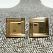 Swank Square Cufflinks Cuff Links Signed Toggle Bullet Link Gold Tone Vintage