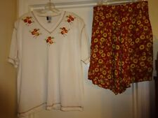 Bold Spirit 2 pc Set Short Sleeve Top & Shorts White Rust Tan Size Large Comfy