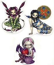 SET OF 3 FAIRIES BABY DRAGON HEART FAIRY FAE  PINK HAIR VINYL STICKERS/DECALS