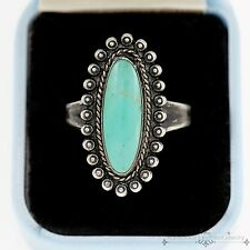 Antique Vintage Sterling Silver Native Navajo Cripple Creek Turquoise Ring 7.25