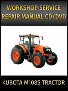 Kubota M108S Tractor Service Repair Manual on CD
