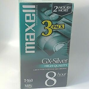 Maxell GX-Silver High Quality T-160 VHS Tapes 3-Pack New Sealed Package 8 Hours