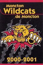 2000-01 MONCTON WILDCATS JUNIOR HOCKEY LEAGUE POCKET SCHEDULE