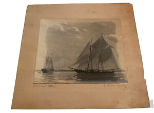 1934 Maritime Graphite & Watercolor Harry Mercer Orwig SIGNED Nautical