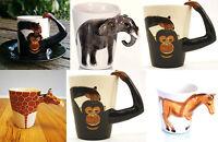 3D Mug, Monkey, Giraffe, Elephant, Horse. Handpainted Stoneware Mug or Cup