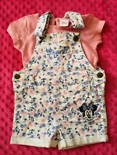 Disney Minnie Mouse Baby Girl dungarees outfit set bundle size 9-12 months