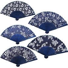Chinese Hand Held Fan Bamboo Silk Flower Folding Fan Blue Color Wedding Decor
