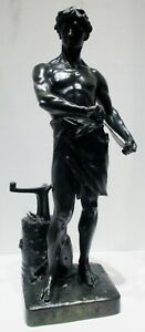 Large Antique 19th Century French Bronze Statue of a Blacksmith signed H. Fugere