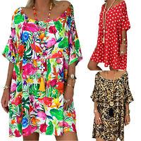 Plus Size Women Floral Short Sleeve Mini Dress Kaftan Summer Tunic Loose Blouse