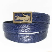 Men's Belt Genuine Crocodile Alligator Skin Leather Belt HANDMADE, Blue, W3.5cm