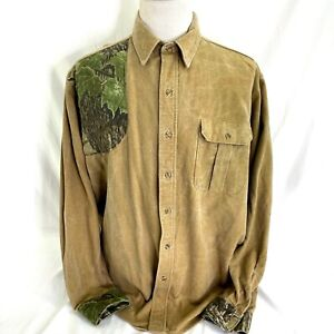 Team Realtree Shooting Shirt Mens XL USA-Made Heavy Cotton Camo Button Front LS
