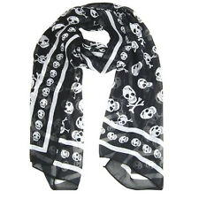 Black Chiffon Silk Skull Print Long Scarf Shawl For Women + Keyring