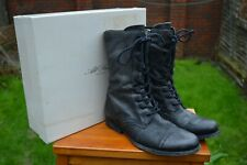 *OMG* AllSaints Mens Leather lace up side zip Military Boot UK8 US9 Boots Black