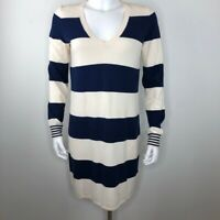 Wallace by Madewell Women's Studio Sweater Dress Blue White Striped Cotton M