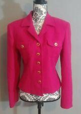 Ann Taylor Pink Wool Blazer Size 10 Gold Buttons Tailored Pockets Collar