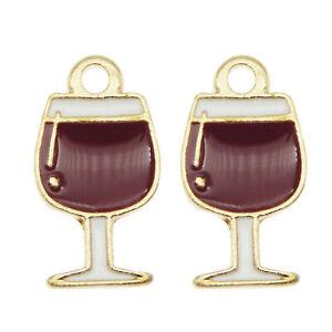 30PCS MultiColor Enamel 16x9mm Wine Glass Goblet Charms Pendant DIY Crafts