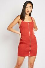 Ladies  Dark Brick Zipper Front Bodycon Dress. Size 8-10-12-14-16