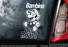 Bambino On Board - Car Sticker - Super Mario - Personalised: Child, Baby, Name..