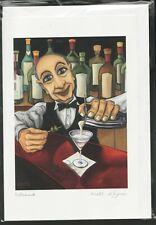 "FRANK Martini Bar Scene  6"" x 9"" art card by Will Rafuse - Free Shipping - 7682"