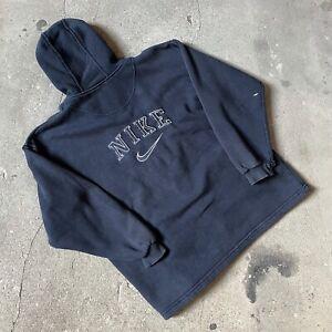 Vintage Nike Bootleg Navy Spellout Full Zip Hoodie Jumper Sweater Hooded - S