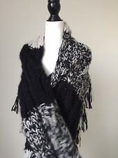 Treasure& Bond Black And Gray Chunky Scarf Large Knit New