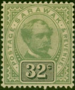 Sarawak 1897 32c Green & Black SG19 Fine Very Lightly Mtd Mint
