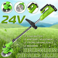 18000 RPM Electric Cordless Grass Trimmer Garden Heavy Weed Lawn Strimmer Cutter