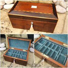 WONDERFUL 19C VICTORIAN ROSEWOOD INLAID ANTIQUE JEWELLERY BOX - FAB INTERIOR